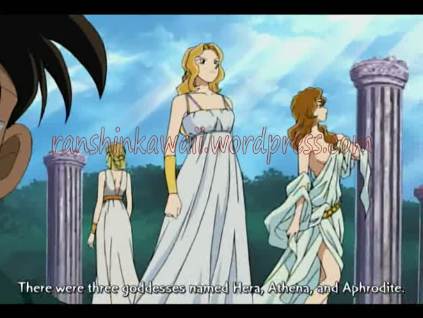 The picture above shows the goddesses in feud for the Golden Apple    Anime Greek Gods And Goddesses